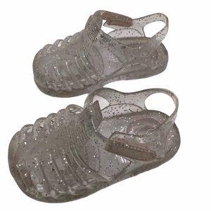 5/$20 Clear Glitter Teeny Toes Jellies